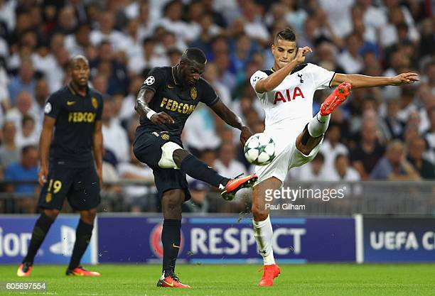Tiemoue Bakayoko of AS Monaco and Erik Lamela of Tottenham Hotspur in action during the UEFA Champions League match between Tottenham Hotspur FC and...