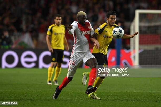 Tiemoue Bakayoko of AS Monaco competes with Nuri Sahin of Borussia Dortmund during the UEFA Champions League Quarter Final second leg match between...