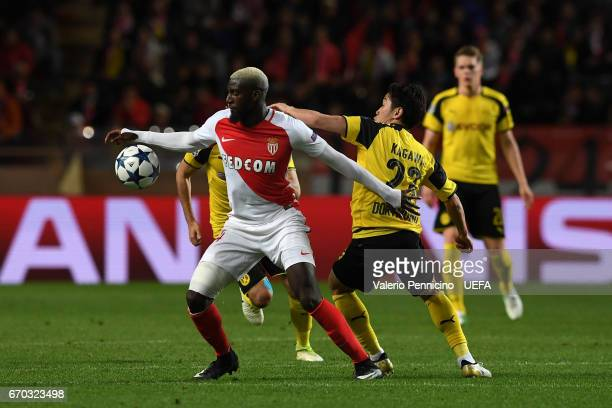 Tiemoue Bakayoko of AS Monaco competes with Shinji Kagawa of Borussia Dortmund during the UEFA Champions League Quarter Final second leg match...