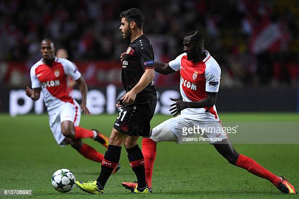 Tiemoue Bakayoko of AS Monaco FC tackles Kevin Volland of Bayer 04 Leverkusen during the UEFA Champions League Group E match between AS Monaco FC and...