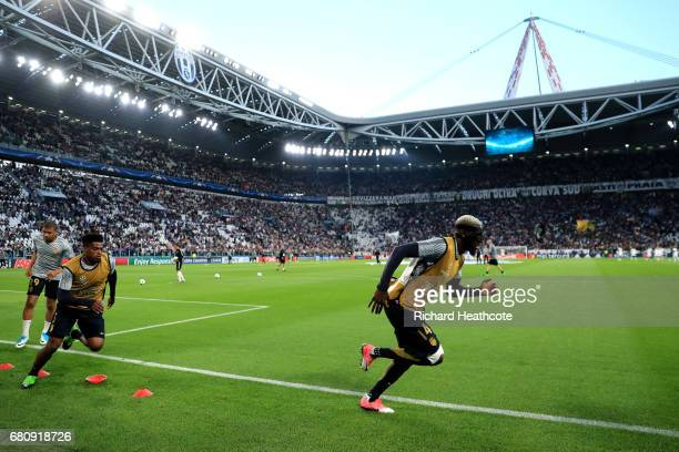 Tiemoue Bakayoko of AS Monaco warms up with team mates prior to the UEFA Champions League Semi Final second leg match between Juventus and AS Monaco...