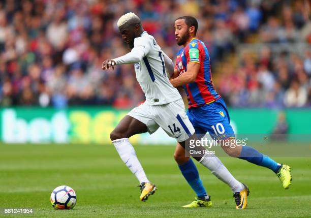 Tiemoue Bakayoko of Chelsea and Andros Townsend of Crystal Palace battle for possession during the Premier League match between Crystal Palace and...