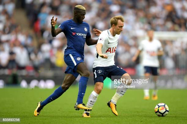 Tiemoue Bakayoko of Chelsea and Christian Eriksen of Tottenham Hotspur battle for possession during the Premier League match between Tottenham...