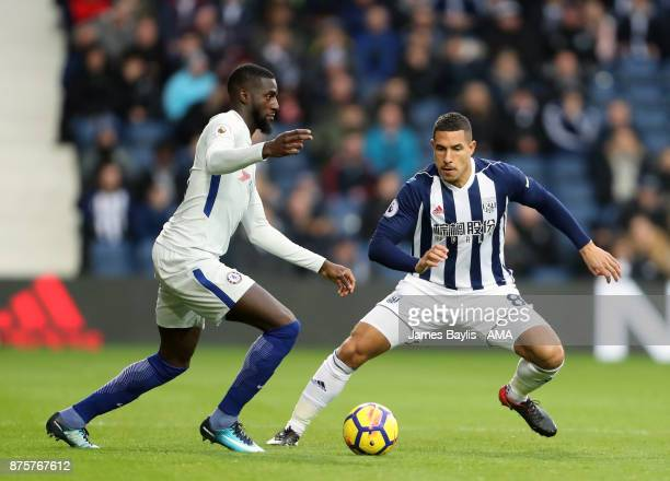 Tiemoue Bakayoko of Chelsea and Jake Livermore of West Bromwich Albion during the Premier League match between West Bromwich Albion and Chelsea at...