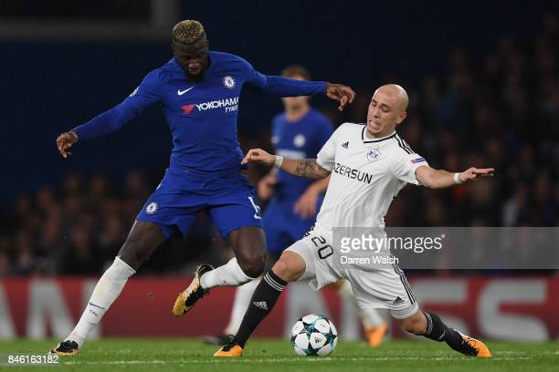 Tiemoue Bakayoko of Chelsea and Oliveira Richard of Qarabag FK battle for possession during the UEFA Champions League Group C match between Chelsea...