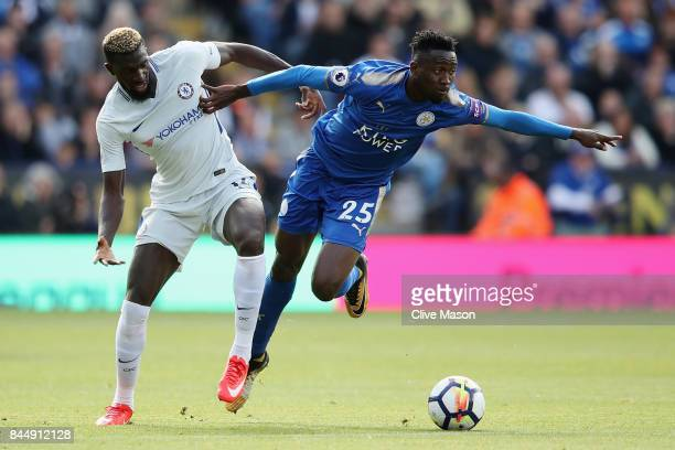 Tiemoue Bakayoko of Chelsea and Wilfred Ndidi of Leicester City battle for possession during the Premier League match between Leicester City and...