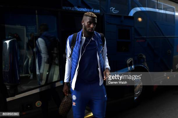 Tiemoue Bakayoko of Chelsea arrives at the stadium prior to the Premier League match between Chelsea and Manchester City at Stamford Bridge on...