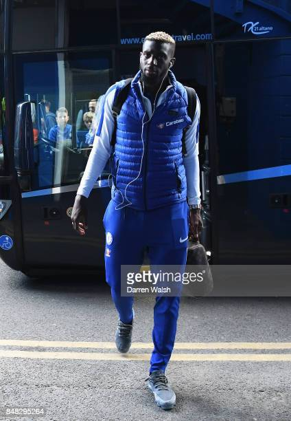 Tiemoue Bakayoko of Chelsea arrives for the Premier League match between Chelsea and Arsenal at Stamford Bridge on September 17 2017 in London England