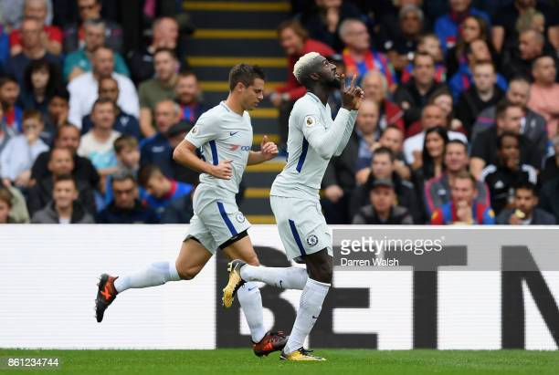 Tiemoue Bakayoko of Chelsea celebrates scoring his sides first goal during the Premier League match between Crystal Palace and Chelsea at Selhurst...