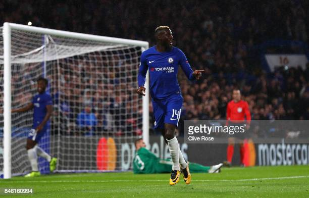 Tiemoue Bakayoko of Chelsea celebrates scoring his sides fourth goal during the UEFA Champions League Group C match between Chelsea FC and Qarabag FK...