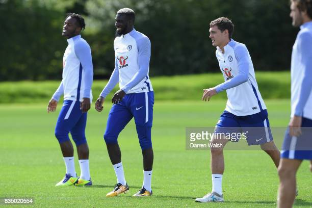 Tiemoue Bakayoko of Chelsea during a training session at Chelsea Training Ground on August 18 2017 in Cobham England