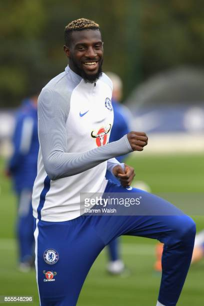 Tiemoue Bakayoko of Chelsea during a training session at Chelsea Training Ground on September 29 2017 in Cobham England