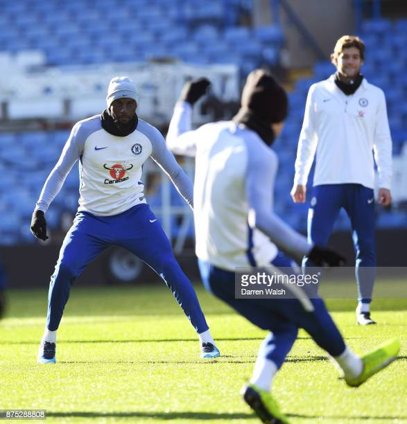 Tiemoue Bakayoko of Chelsea during a training session at Stamford Bridge on November 17 2017 in London England
