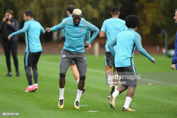 Tiemoue Bakayoko of Chelsea during a training session at the Cobham Training Ground on October 17 2017 in Cobham England