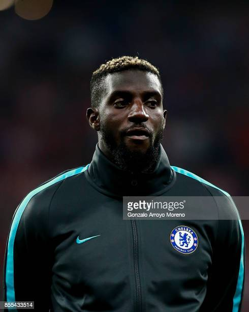 Tiemoue Bakayoko of Chelsea FC listens to the UEFA Champions League hymn prior to start the UEFA Champions League group C match between Atletico...