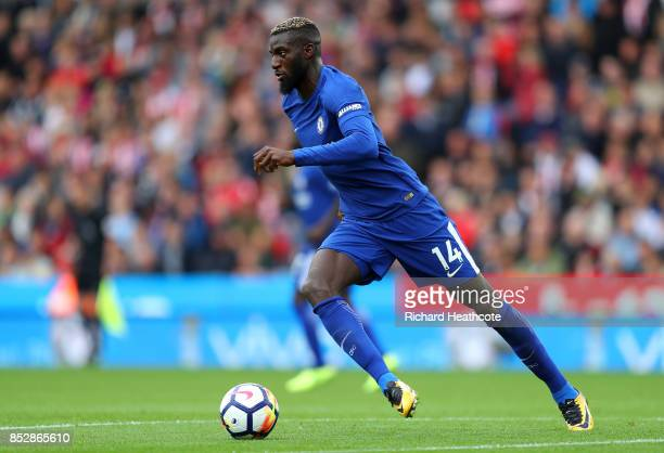 Tiemoue Bakayoko of Chelsea in action during the Premier League match between Stoke City and Chelsea at Bet365 Stadium on September 23 2017 in Stoke...