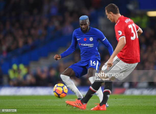 Tiemoue Bakayoko of Chelsea puts pressure on Nemanja Matic of Manchester United during the Premier League match between Chelsea and Manchester United...