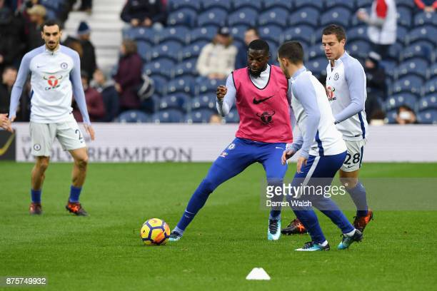 Tiemoue Bakayoko of Chelsea warms up prior to the Premier League match between West Bromwich Albion and Chelsea at The Hawthorns on November 18 2017...