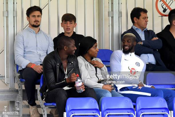 Tiemoue Bakayoko of Chelsea watches from the stand during a friendly match between Chelsea and Fulham at Chelsea Training Ground on July 15 2017 in...