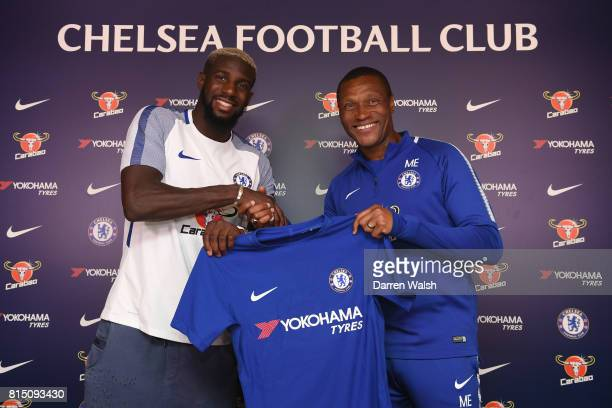 Tiemoue Bakayoko of Chelsea with Michael Emenalo after he signed a 5 year contract at Chelsea Training Ground on July 15 2017 in Cobham England