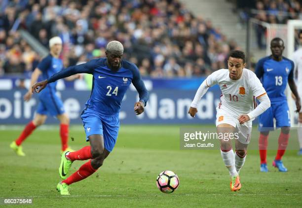 Tiemoue Bakayoko of France and Thiago Alcantara of Spain in action during the international friendly match between France and Spain between France...