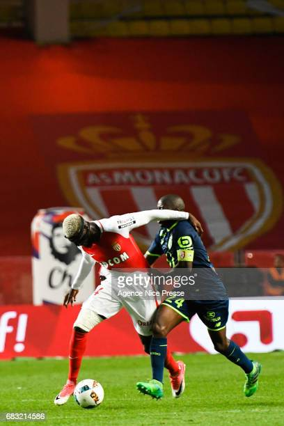 Tiemoue Bakayoko of Monaco and Antonio Mavuba of Lille during the Ligue1 match between As Monaco and Lille OSC at Louis II Stadium on May 14 2017 in...