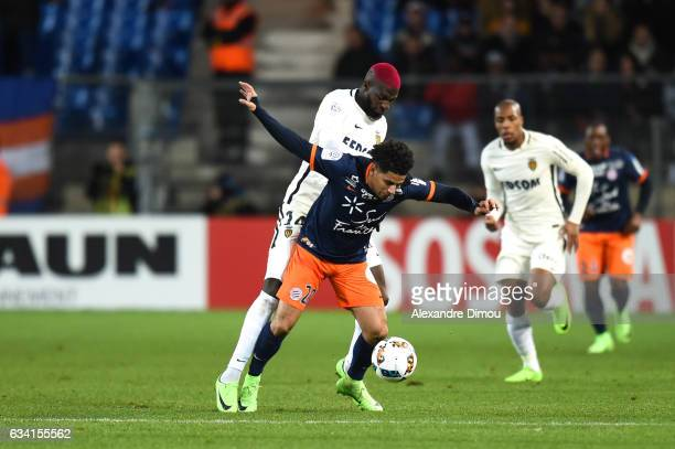 Tiemoue Bakayoko of Monaco and Keagan Dolly of Montpellier during the French Ligue 1 match between Montpellier and Monaco at Stade de la Mosson on...