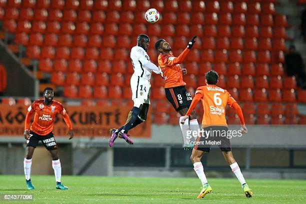 Tiemoue Bakayoko of Monaco and Miguel Cafu of Lorient during the Ligue 1 match between Fc Lorient and As Monaco at Stade du Moustoir on November 18...