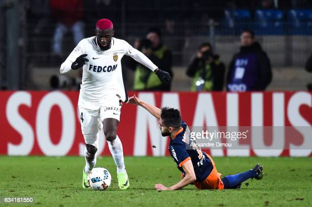 Tiemoue Bakayoko of Monaco and Ryad Boudebouz of Montpellier during the French Ligue 1 match between Montpellier and Monaco at Stade de la Mosson on...
