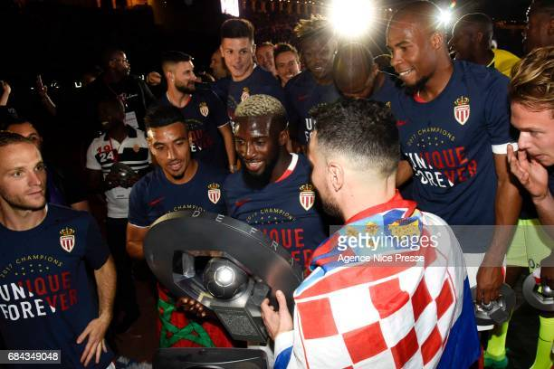 Tiemoue Bakayoko of Monaco celebrates winning the Ligue 1 title during the Ligue 1 match between As Monaco and AS Saint Etienne at Stade Louis II on...