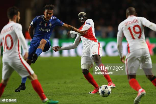 Tiemoue Bakayoko of Monaco challenged by Paulo Dybala of Juventus during the UEFA Champions League Semi Final first leg match between AS Monaco v...