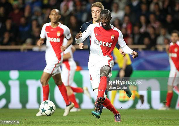 Tiemoue Bakayoko of Monaco in action during the UEFA Champions League match between AS Monaco FC and Tottenham Hotspur FC at Stade Louis II on...