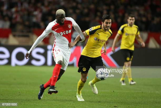 Tiemoue Bakayoko of Monaco Nuri Sahin of Dortmund during the UEFA Champions League quarter final second leg match between AS Monaco and Borussia...