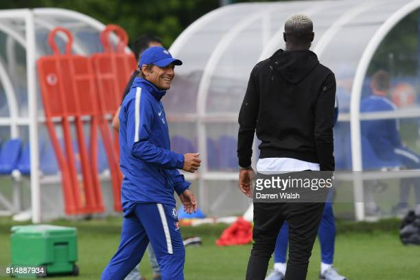 Tiemoue Bakayoko talks to Antonio Conte of Chelsea during a training session at Chelsea Training Ground on July 14 2017 in Cobham England