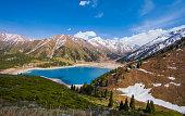 Tien Shan mountains, mountain lake, peaks, Big Almaty Lake, Kazakhstan