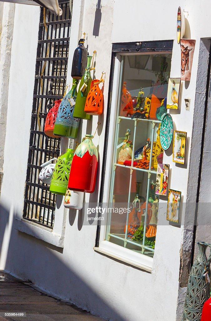 tienda de suvenirs tipìca andaluza : Stock Photo
