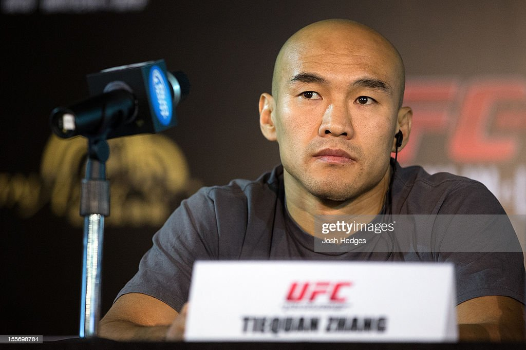 Tiequan Zhang looks on during a UFC press conference at Harbour City Mall on November 7, 2012 in Hong Kong, Hong Kong.