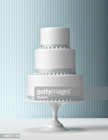 Tiered Fondant Cake with blue background