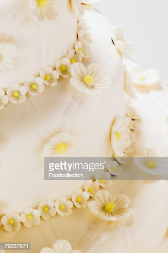 A tiered wedding cake (detail) : Stock Photo