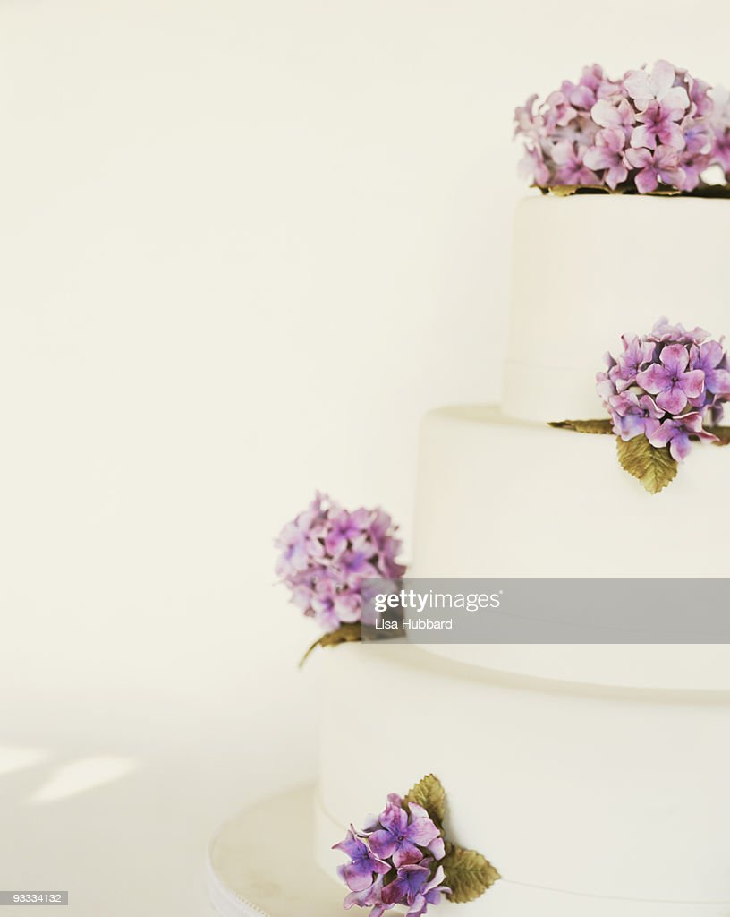 Tiered Wedding Cake With Hydrangea Flowers Stock Photo