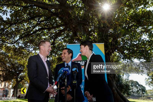 Tiernan Brady The Equality Campaign Alex Greenwich Australian Marriage Equality and Anna Brown Human Rights Law Centre are seen during a media...