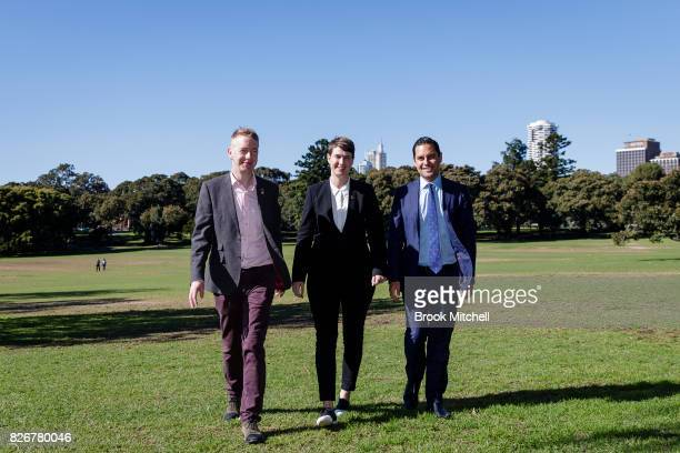 Tiernan Brady The Equality Campaign Anna Brown Human Rights Law Centre and Alex Greenwich Australian Marriage Equality are seen during a media...