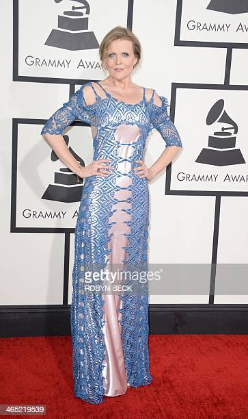 Tierney Sutton arrives on the red carpet for the 56th Grammy Awards at the Staples Center in Los Angeles California January 26 2014 AFP PHOTO ROBYN...