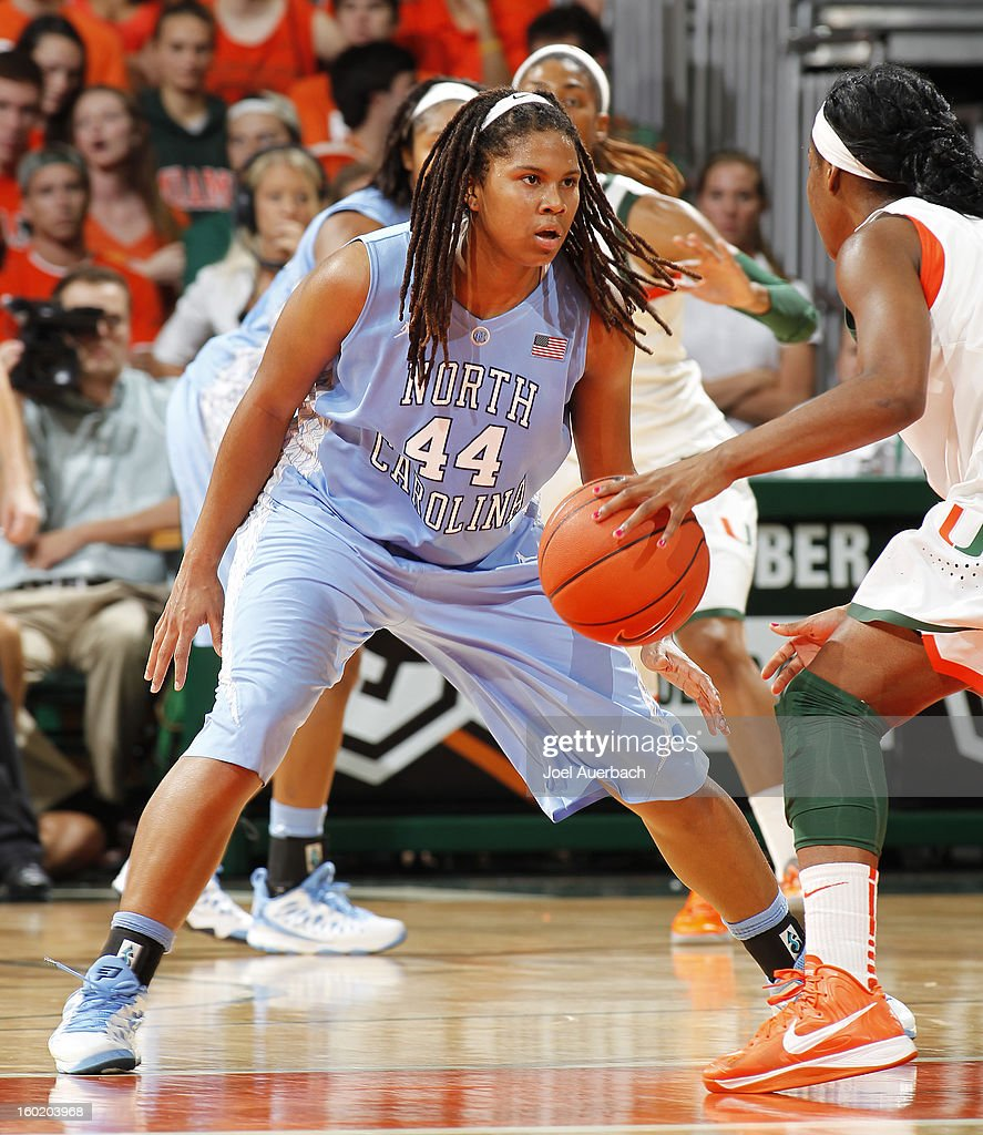 Tierra Ruffin-Pratt #44 of the North Carolina Tar Heels defends against the Miami Hurricanes during second half action on January 27, 2013 at the BankUnited Center in Coral Gables, Florida. The Tar heels defeated the Hurricanes 64-62.