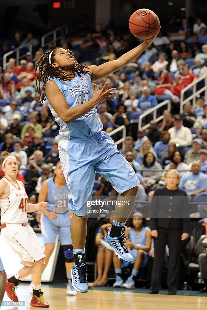 Tierra Ruffin-Pratt #44 of the North Carolina Tar Heels goes to the hoop against the Maryland Terrapins during the semifinals of the 2013 Women's ACC Tournament at the Greensboro Coliseum on March 9, 2013 in Greensboro, North Carolina.