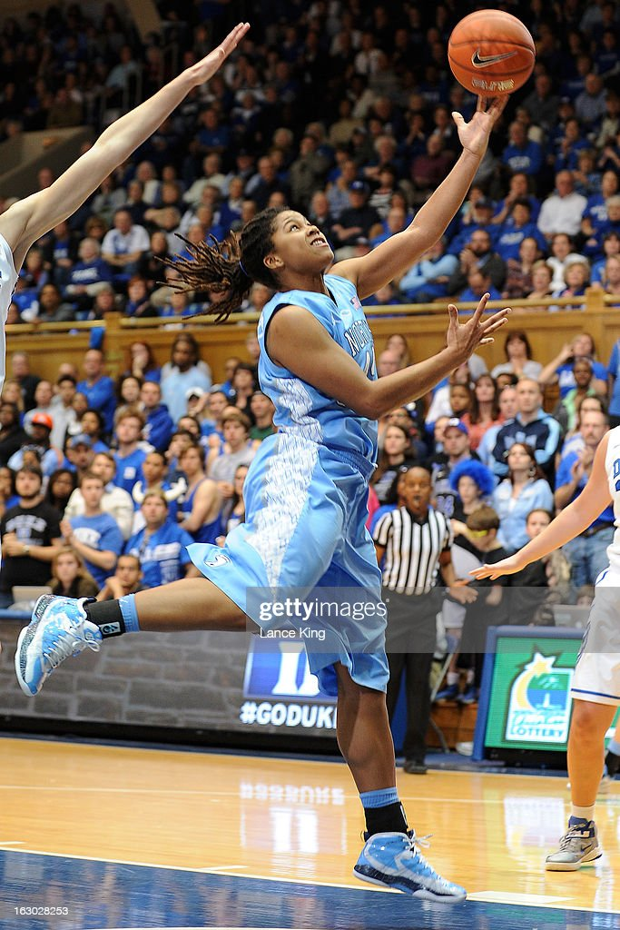 Tierra Ruffin-Pratt #44 of the North Carolina Tar Heels puts up a shot against the Duke Blue Devils at Cameron Indoor Stadium on March 3, 2013 in Durham, North Carolina. Duke defeated North Carolina 65-58.