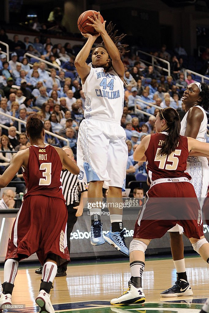 Tierra Ruffin-Pratt #44 of the North Carolina Tar Heels puts up a shot against the Boston College Eagles during the quarterfinals of the 2013 Women's ACC Tournament at the Greensboro Coliseum on March 8, 2013 in Greensboro, North Carolina.