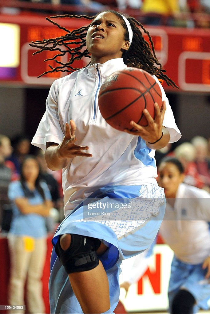 Tierra Ruffin-Pratt #44 of the North Carolina Tar Heels warms up prior to a game against the North Carolina State Wolfpack at Reynolds Coliseum on January 10, 2013 in Raleigh, North Carolina. North Carolina defeated NC State 70-66.