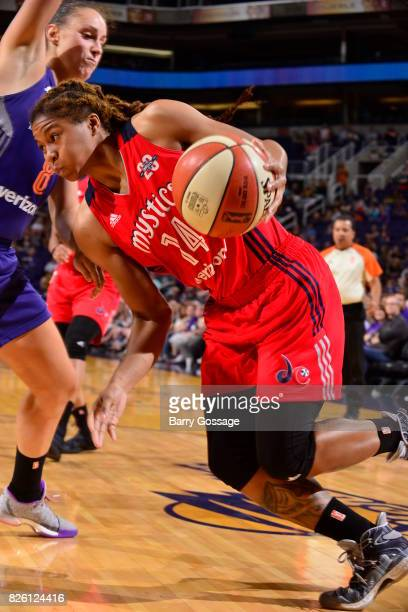 Tierra RuffinPratt of the Washington Mystics drives to the basket during the game against the Phoenix Mercury on July 5 2017 at Talking Stick Resort...