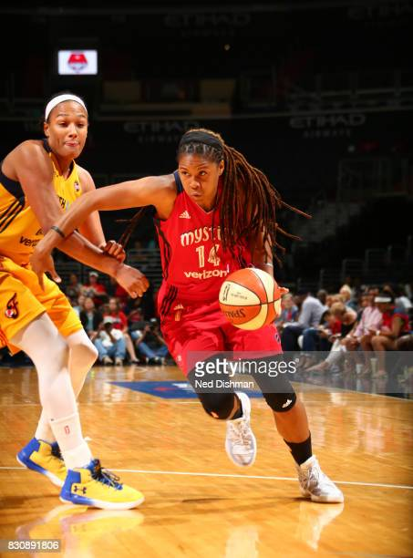 Tierra RuffinPratt of the Washington Mystics drives to the basket against the Indiana Fever on August 12 2017 at the Verizon Center in Washington DC...